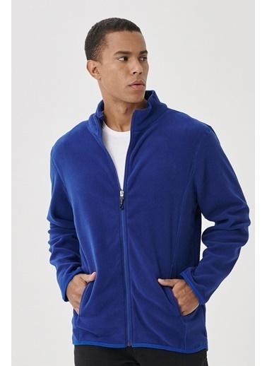 AC&Co / Altınyıldız Classics Standart Fit Günlük Rahat Tam Fermuarlı Bato Yaka Polar Spor Sweatshirt 4A5221100014 Saks